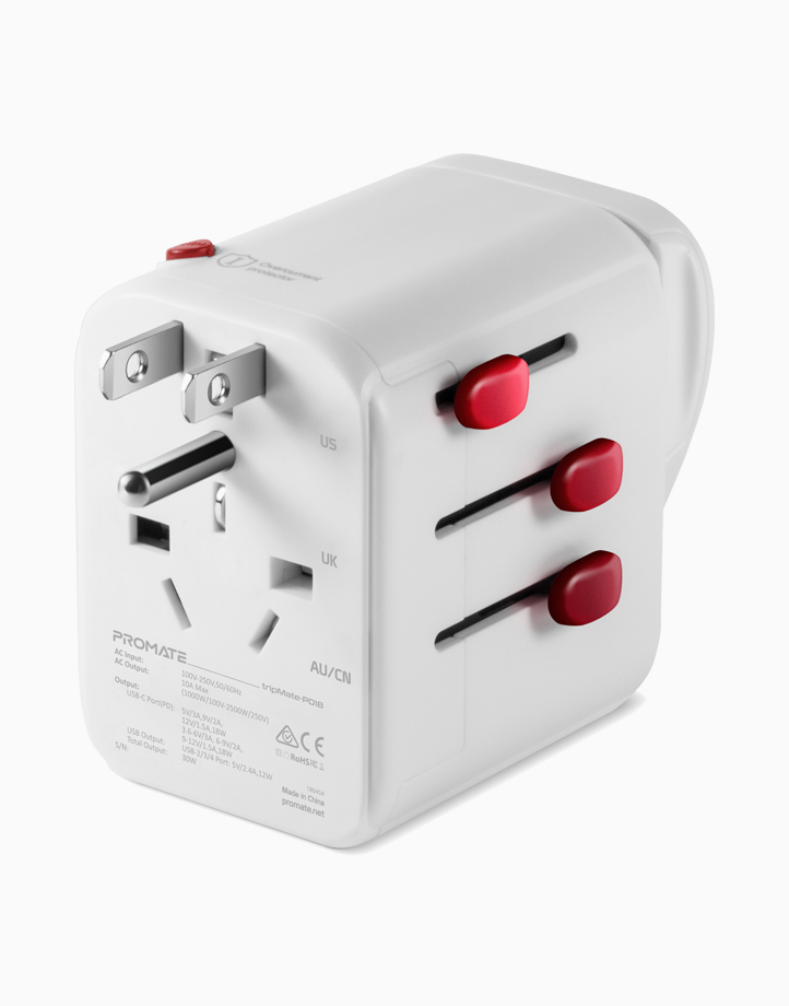 Tripmate-PD18 Portable Travel Charger with Universal AC Socket, 3 USB Ports & 1 USB-C Port (With 18W PD & QC 3.0) - White by Promate