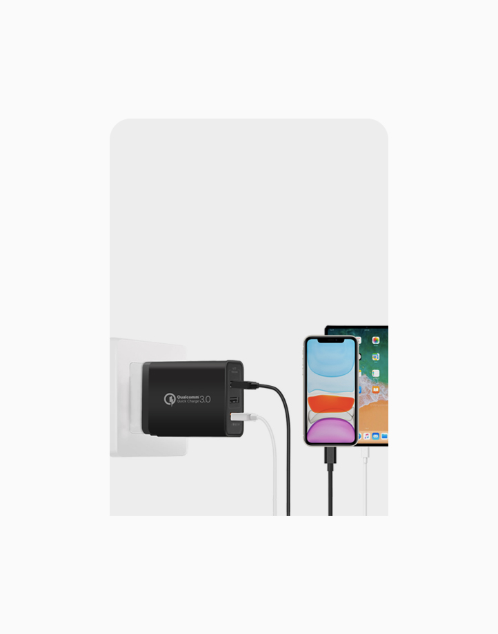 Triport-QC 3 Port Wall Charger with 1 QC 3.0 Port and Dual 2.4A Ports by Promate   Black