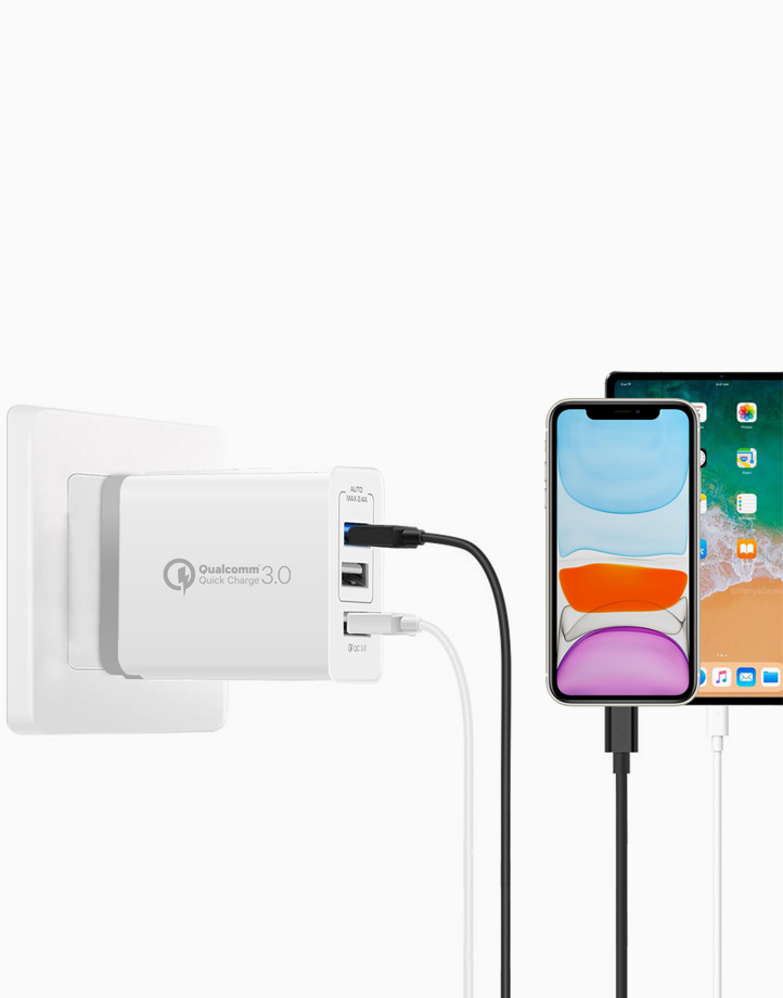 Triport-QC 3 Port Wall Charger with 1 QC 3.0 Port and Dual 2.4A Ports by Promate   White