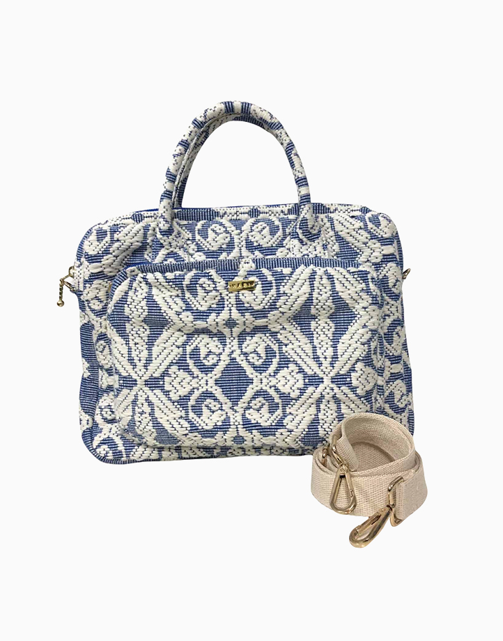 Laptop Bag by Habi Home   Blue Scroll