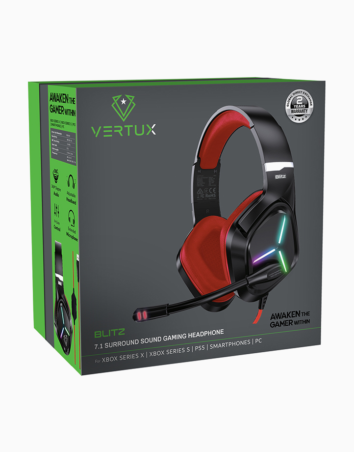 Blitz High Performance Wired Gaming Headset with Extended Microphone by Vertux   Red