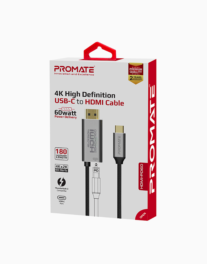 HDMI-PD60 USB-C Fabric Braided Cable To 4K HDMI & 60W PD, 1.8 Meter Length by Promate