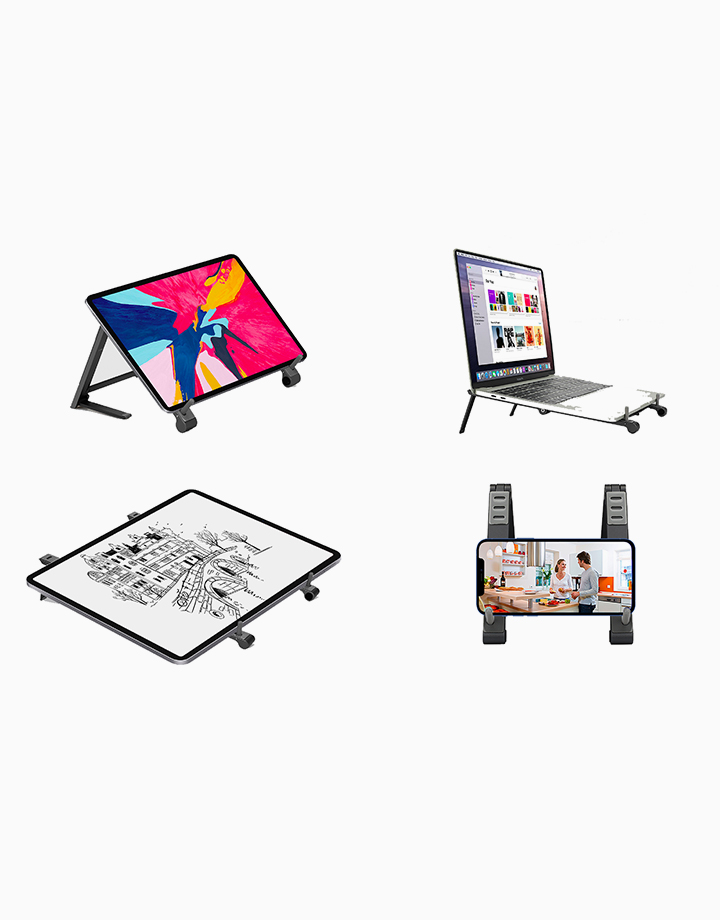 Elevate Multi-Level Portable Aluminium Stand for Laptops, Tablets and Smartphones by Promate | Black