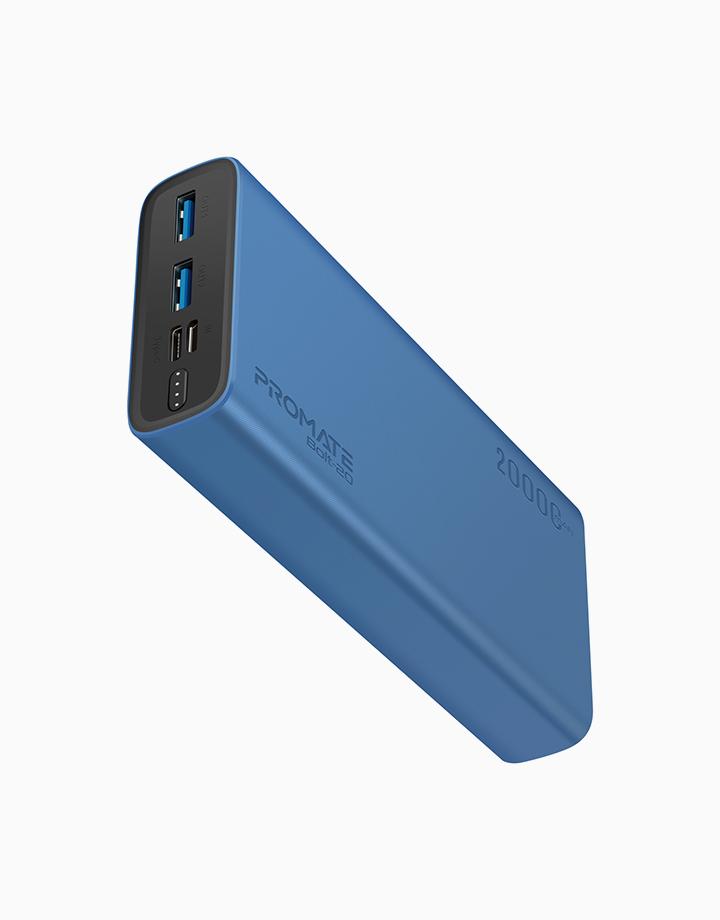 Bolt-20 20000mAh Dual USB Li-Po Power Bank with USB-C & Micro-USB Input by Promate | Blue