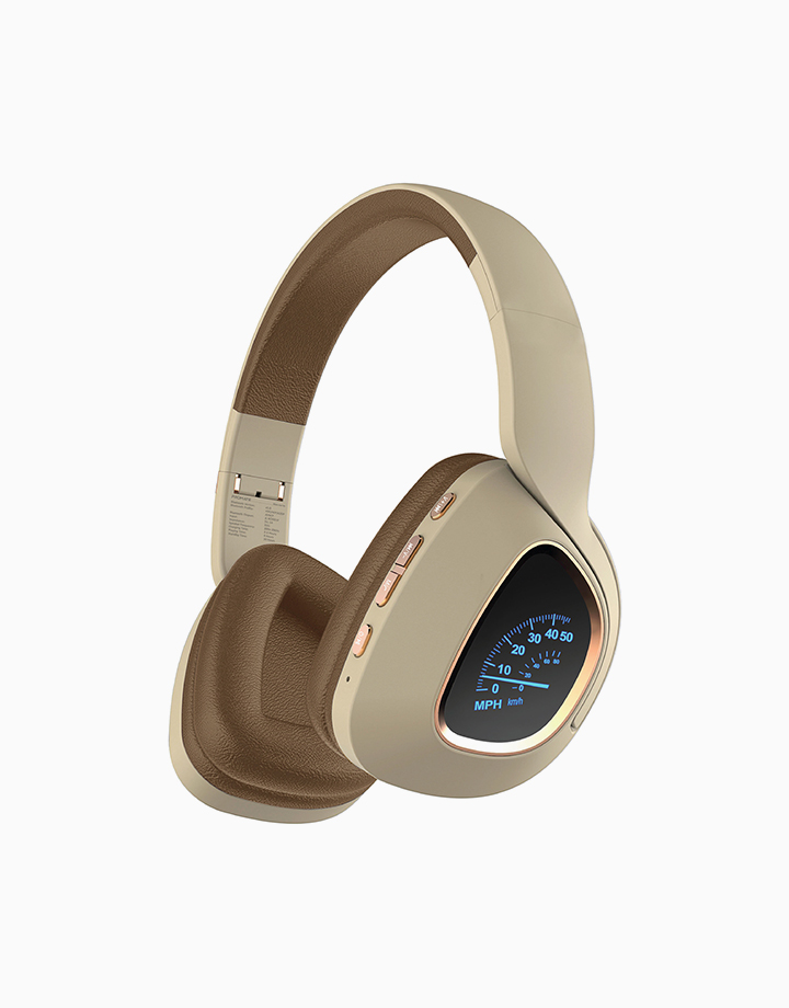 Bavaria Bluetooth v5.0 Foldable Headset with LED Light – Beige by Promate   Beige