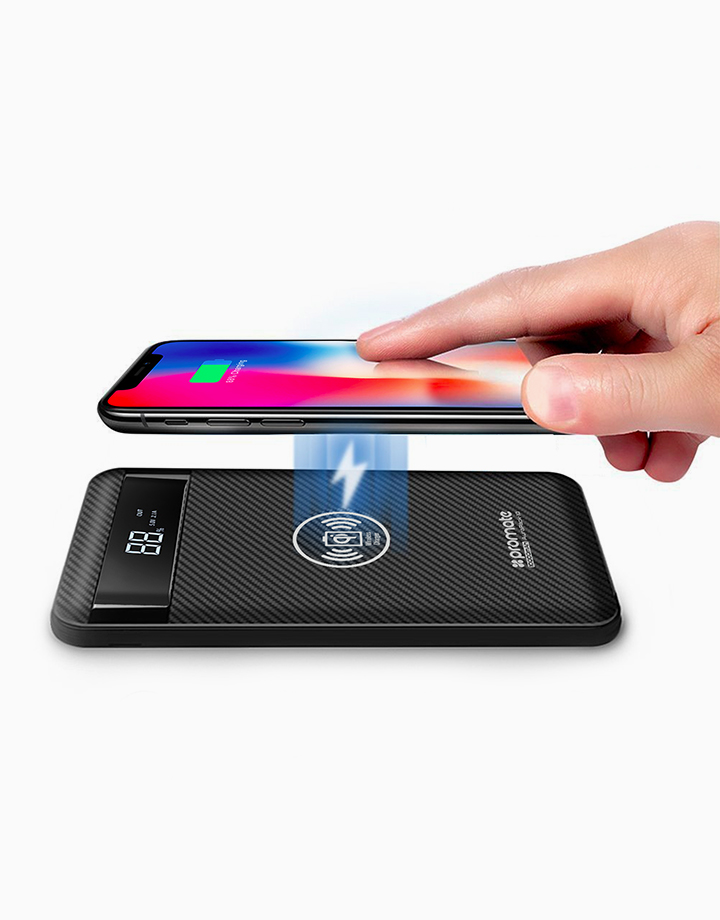 Aurapack-10 Wireless Charging Power Bank 10000mAh with USB-C, Micro-USB and Lightning Input Ports - Black by Promate