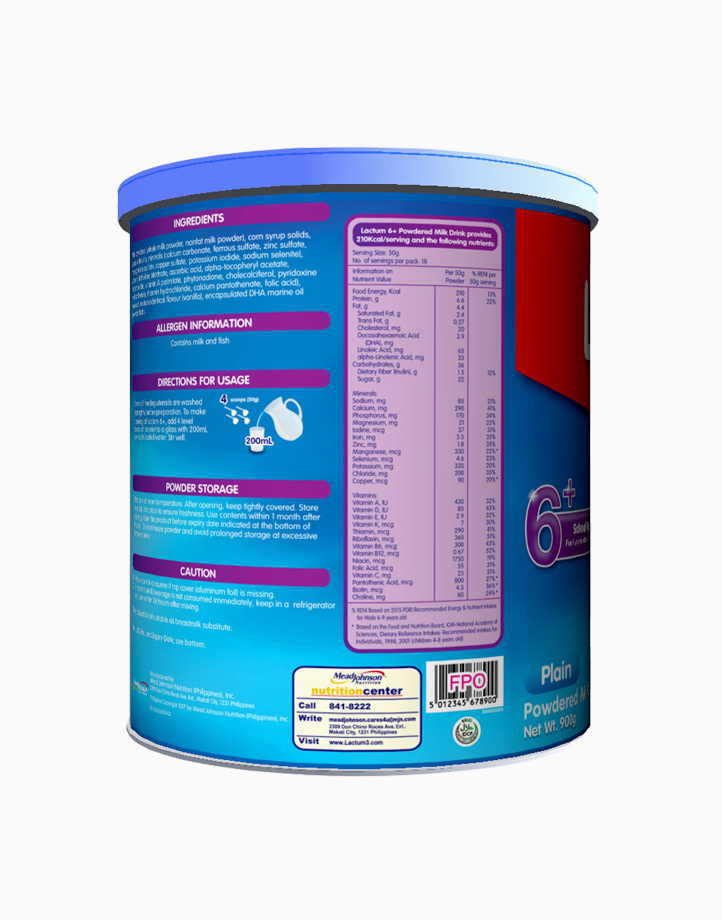 Lactum 6+ Plain Powdered Milk Drink for Children 6 Years Old and Above (900g) by Lactum
