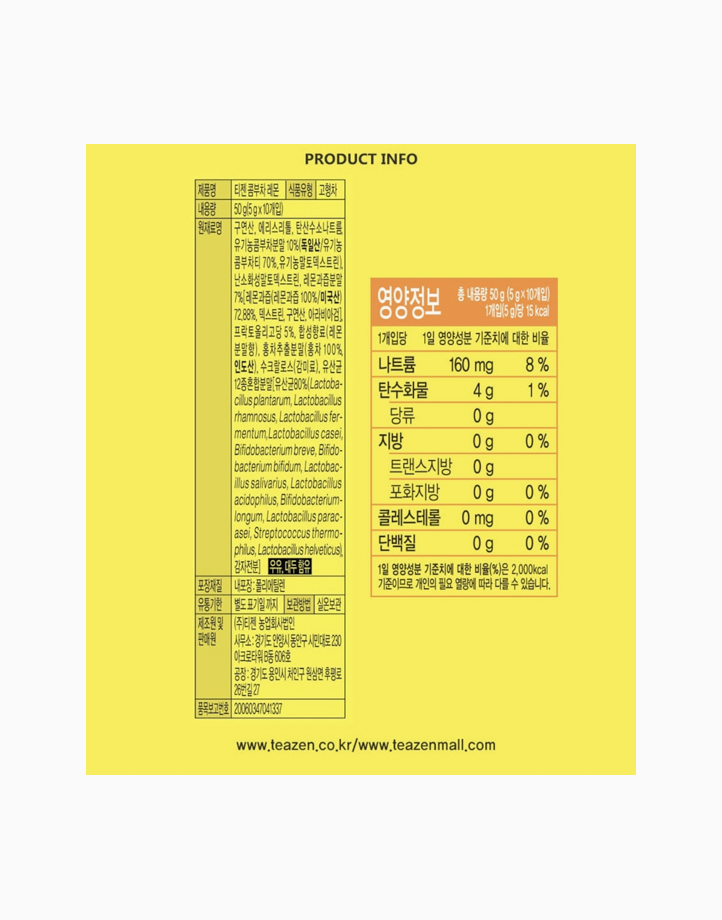 Kombucha Lemon (10 Sachets) by Teazen