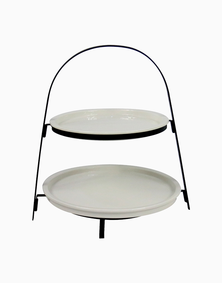 Lael 2-Tier Round Plate with Collapsible Rack by Omega Houseware
