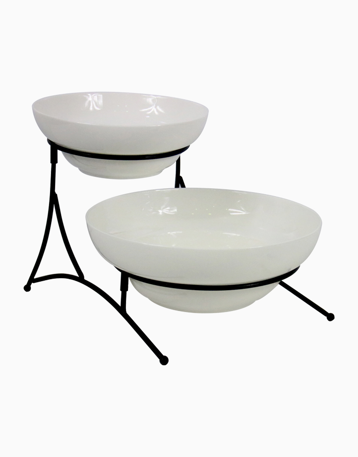 Azari 2-Tier Round Bowl with Collapsible Rack by Omega Houseware