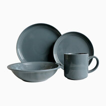 Alizah 8pc Stoneware Dinner Set in Black by Omega Houseware
