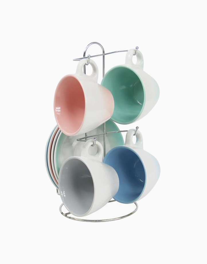 Areli 8pcs Cups & Saucers with Rack by Omega Houseware