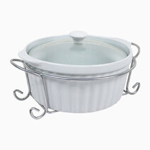 Omega Elizabeth Round Ceramic Casserole with Lid in Gift Box (1.5L) by Omega Houseware