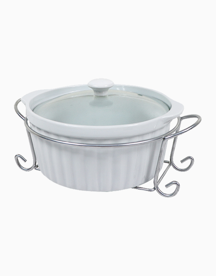 Omega Elizabeth Round Ceramic Casserole with Lid in Gift Box (2L) by Omega Houseware