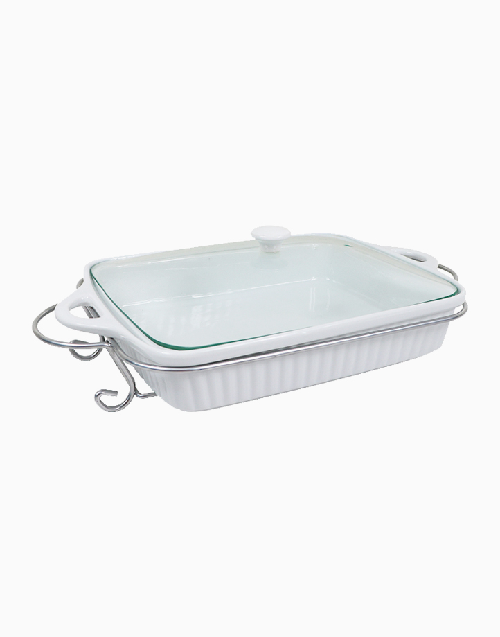 Omega Majestic Rectangular Ceramic Bakedish with Lid & Handle in Gift Box (2L) by Omega Houseware