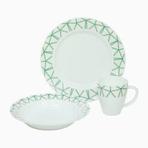 Maura Printed Flare Opal Dinner 6-Piece Set (Green) by Omega Houseware