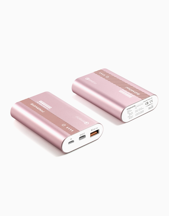 PowerTank-10 10,000mAh Ultra-Fast Charging Power Bank with 18Watt Power Delivery & QC 3.0 - Rose Gold by Promate
