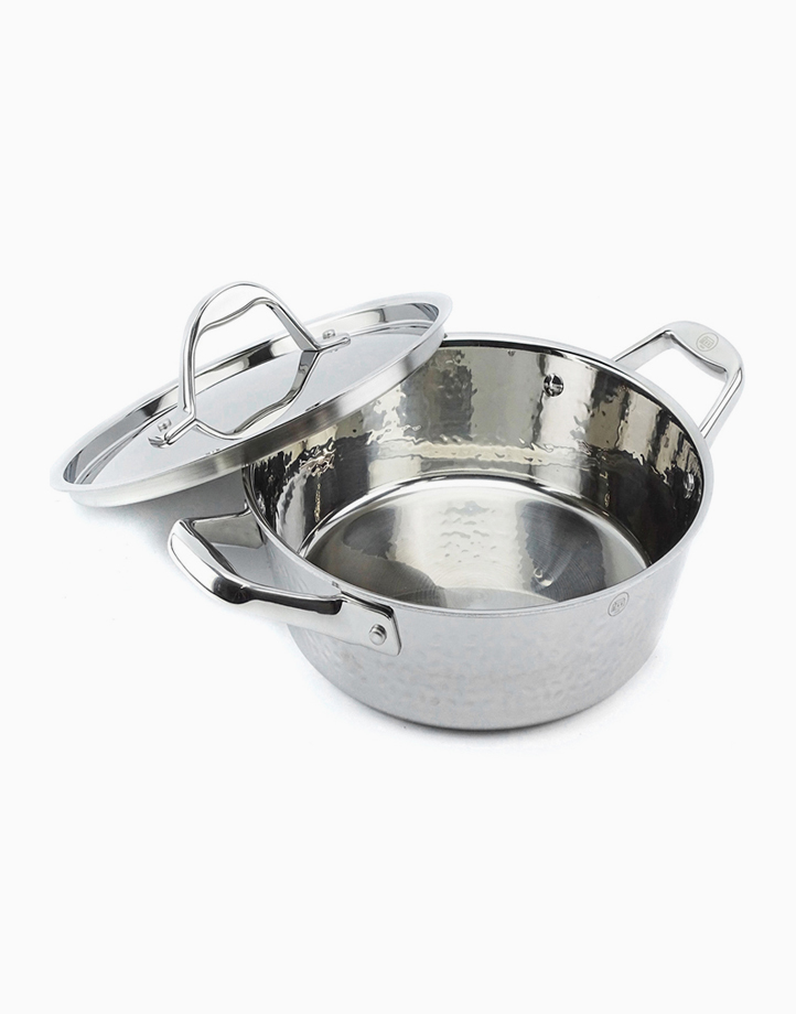 Stern Stainless Steel Casserole Tri-Ply Cone Shape Hammered Body with Lid (24cm) by Carl Schmidt Sohn