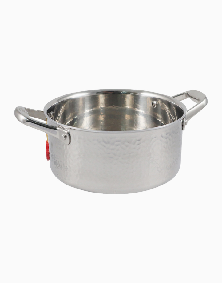 Stern Stainless Steel High Casserole Tri-Ply Hammered Body with Lid (22cm) by Carl Schmidt Sohn