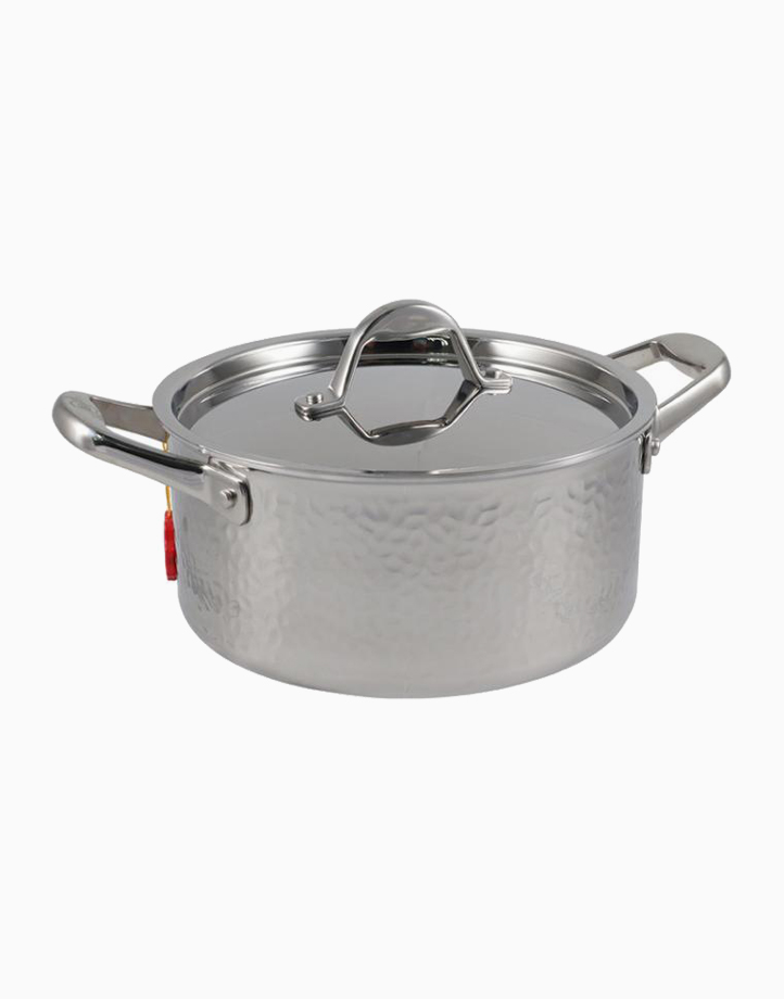 Stern Stainless Steel High Casserole Tri-Ply Hammered Body with Lid (20cm) by Carl Schmidt Sohn