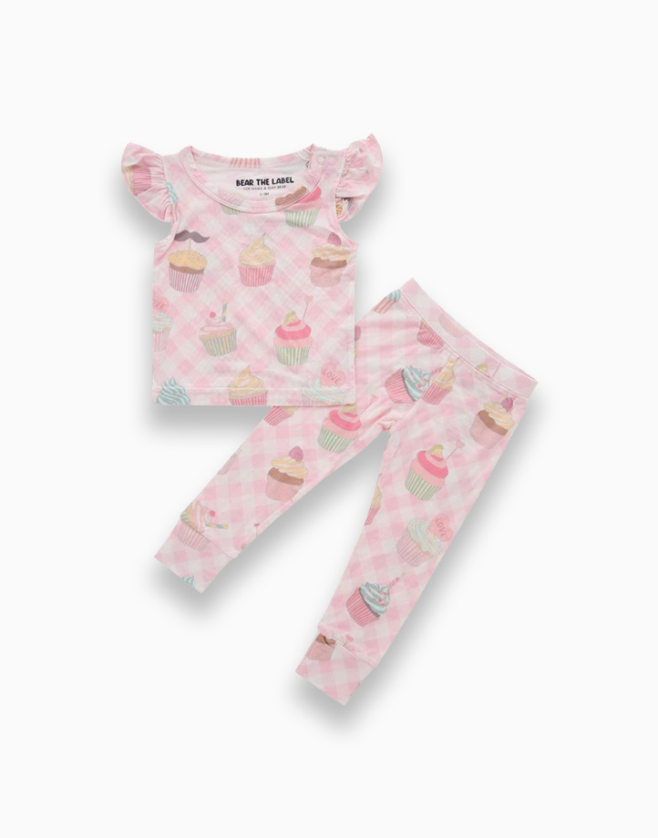 Evie Cupcake Ruffled Sleeves + Pants Set by Bear the Label | 0-3 Months