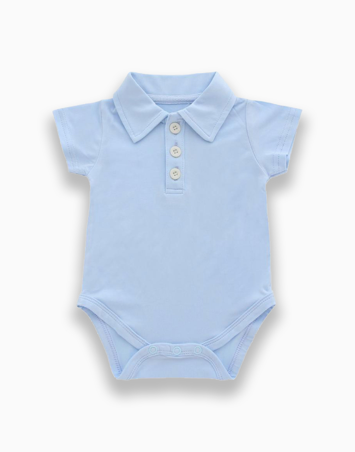 Lilo Blue Polo Short Sleeved Romper by Bear the Label   6-12 Months