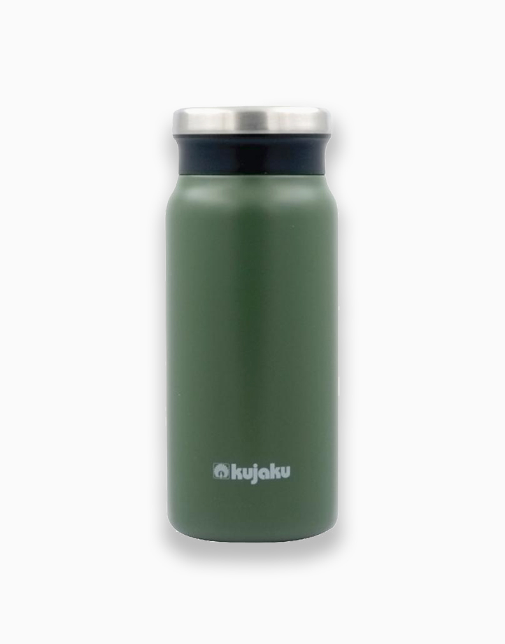 Double Wall Stainless Steel Vacuum Bottle (400ml) by Kujaku   Green/Khaki