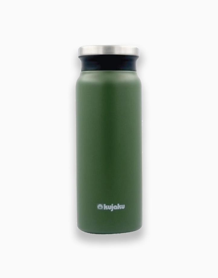 Double Wall Stainless Steel Vacuum Bottle (600ml) by Kujaku | Green/Khaki