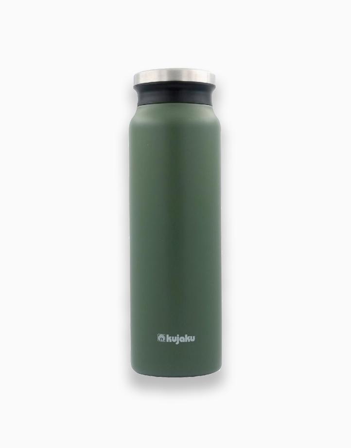 Double Wall Stainless Steel Vacuum Bottle (800ml) by Kujaku   Green/Khaki