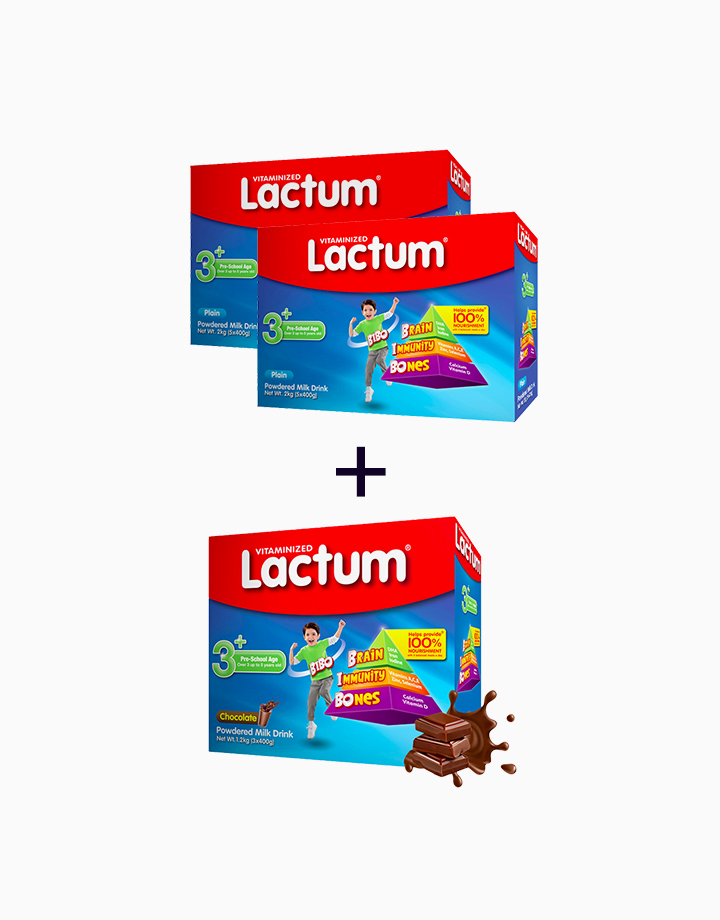 Lactum 3+ Plain (2kg) + Lactum 3+ Choco (1.2kg) (Buy 2, Take 1) by Lactum
