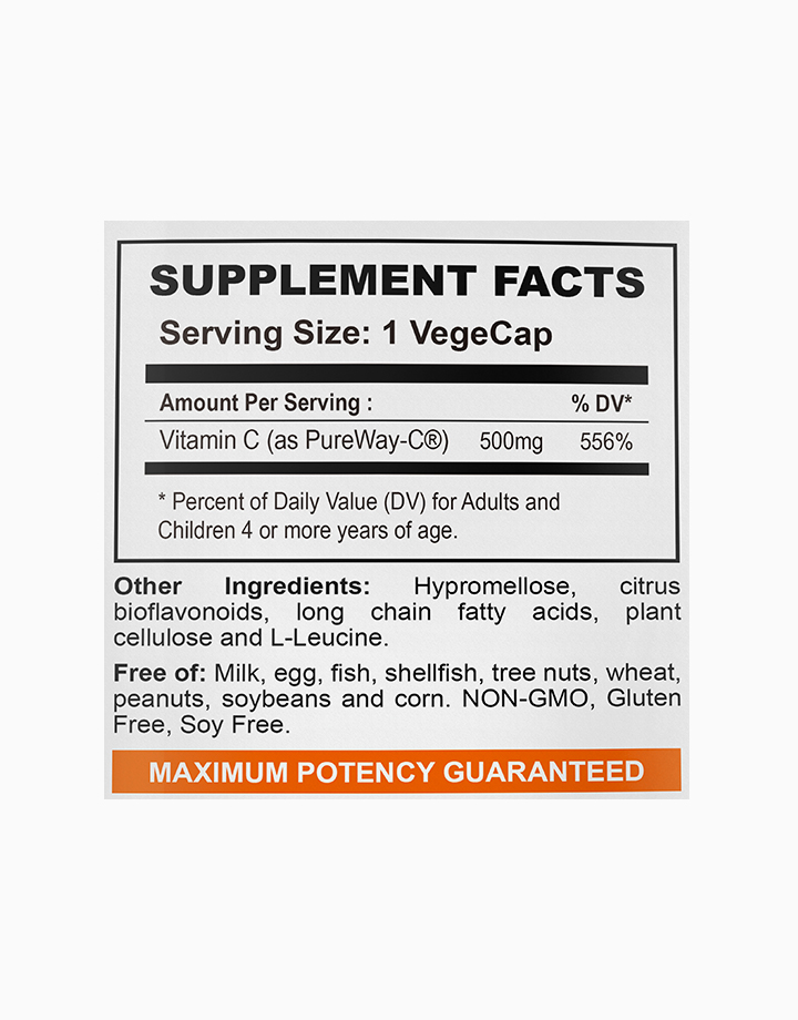 Vitamin C Pureway-C 500mg, Superior Absorption (250 Vegetarian Capsules) by My Happy Formula