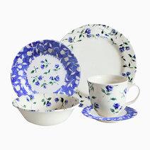 Floret Rim Dark Blue 20-piece Ceramic Dinner Set by Claytan