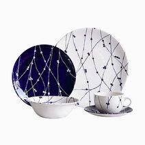 Lucy Blue 20-piece Ceramic Dinner Set by Claytan