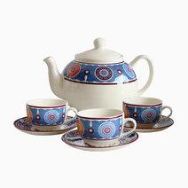 Sumaya Blue 14-piece Ceramic Tea Set by Claytan