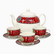 Sumaya Maroon 14-pc Tea Set by Claytan