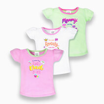 3-Piece Short Sleeve Fitted Blouse for Girls (Silly Sayings) by Cotton Stuff