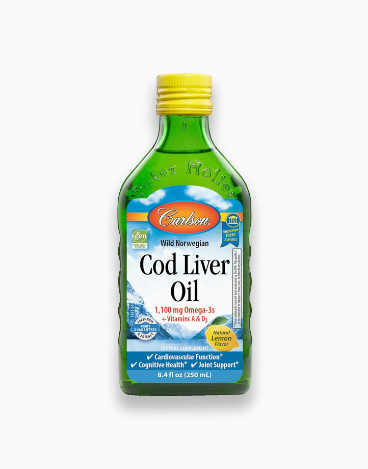 Cod Liver Oil 1,100 mg Omega-3s + Vitamin A & D3 Lemon Flavor (250ml) by Carlson