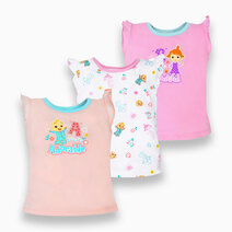 Cocomelon - 3-piece Sleeveless Ruffle Blouse for Girls (Sing with Me) by Cotton Stuff