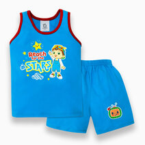 """Cocomelon Toddler - """"Reach For The Stars"""" Sando and Shorts Set for Boys (Play with Me) by Cotton Stuff"""