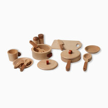15-Piece Beechwood Pretend Play Cooking Set by Kidz and Co.