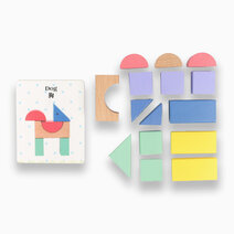 15 Wooden Grain Blocks with Bilingual Flashcards by Kidz and Co.