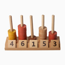 Wooden Math Arithmetic Pillars and Stacking Rings Teaching Aid by Kidz and Co.