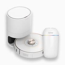 Robot Vacuum Cleaner with Automatic Dustbin T1s Pro (White) with FREE Car Style Air-Cleaning Disinfector FC101 by Lenovo