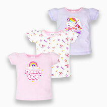 3-Piece Short Sleeve Fitted Blouse for Girls (Groovy) by Cotton Stuff