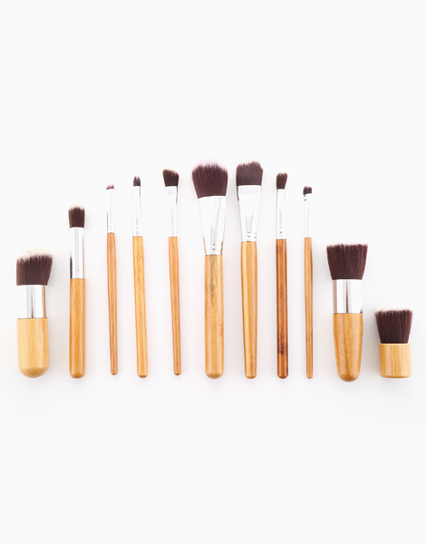 11-Piece Bamboo Makeup Brush Set With Pouch by Brush Works