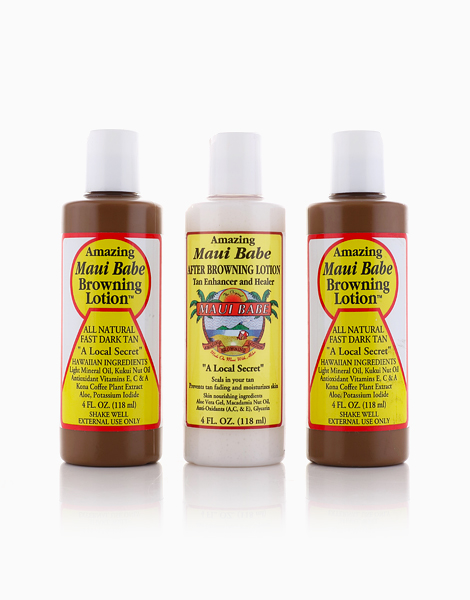 Maui Babe Bundle of 3: (2) Browning Lotion (4oz) + (1) After Browning Lotion (4oz) by Maui Babe