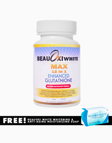BeauOxi White Max 12-in-1 Enhanced Glutathione Tablets with FREE BeauOxi White Soap by BeauOxi White
