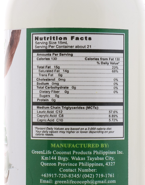100% Virgin Coconut Oil (250ml) by GreenLife Home of Coconut Products