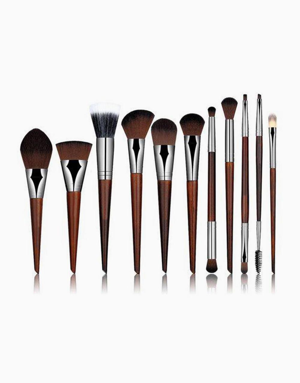 11-Piece Rosewood Makeup Brush Set by Brush Works