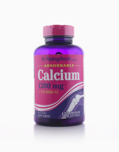 Absorbable Calcium 600mg Plus D 5,000 IU Softgels (120 Softgels) by Piping Rock